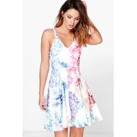 Floral Print Strappy Skater Dress - multi