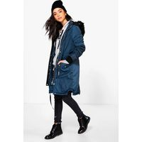 Parka With Faux Fur Trim Hood - navy