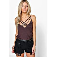 Double Strap Swing Cami - chocolate