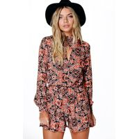 Boho Print Balloon Sleeve Playsuit - multi