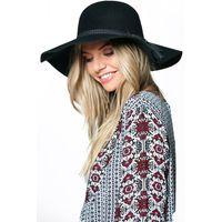 Wool Floppy Hat With Tassel Trim - black