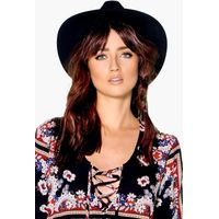 Ribbon Trim Fedora Hat - black