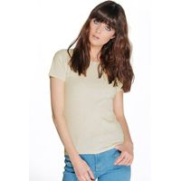 Scoop Neck Ribbed S/S Top - oatmeal