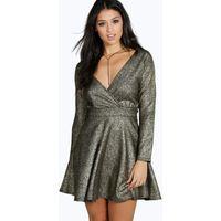 Metallic Speckle A-line Skater Dress - black