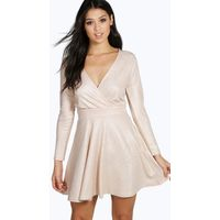 Metallic Speckle A-line Skater Dress - blush