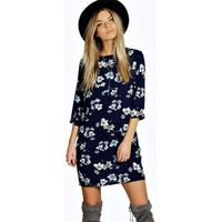 Floral Print 3/4 Sleeve Shift Dress - navy