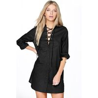 Lace Up Collar Cotton Shirt Dress - black