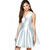 Alicia Metallic Seam Detail Prom Dress - grey