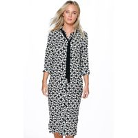 Monochrome Geo Print Tie Neck Dress - black