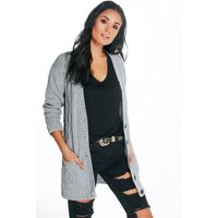 Cable Pocket Cardigan - silver