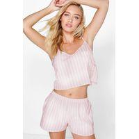 Strip Pocket Vest And Short Set - pink