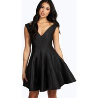 Claire Sateen Fit & Flare Dress - black