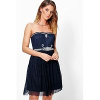 Lilly Embellished Lace Skirt Prom Dress - navy