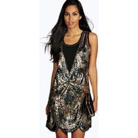 Ciara All Over Embellished Shift Dress - pewter