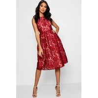 Aria Embroidered Organza Skater Dress - berry