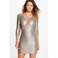 Elly All Over Sequin Bodycon Dress - silver