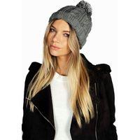 Chunky Knit Bobble Hat - grey