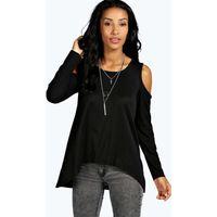 Ribbed Cold Shoulder Long Sleeve Top - black