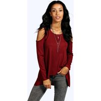 Ribbed Cold Shoulder Long Sleeve Top - burgundy