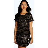 Viola Embellished Shift Dress - black