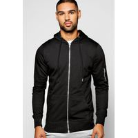 Zip Through Hoodie - black