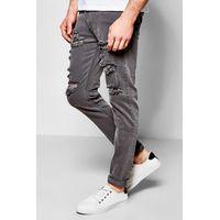 Fit Light Grey Multi Ripped Jean - grey