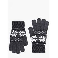 Fairisle Gloves - charcoal