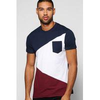 Colour Block T Shirt - navy