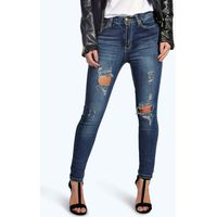 Bethany Distressed Ripped Skinny Jeans - blue