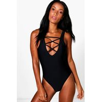 Criss Cross Front Swimsuit - black