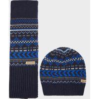 Columbia Mens Winter Worn Hat & Scarf Set, Blue