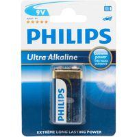 Phillips Ultra Alkaline 9V 6LR61 Battery, Black