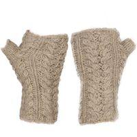 Kusan Womens Cable Knit Handwarmers, Ecru