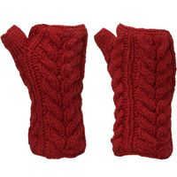 Kusan Womens Cable Knit Handwarmers, Red