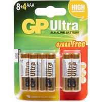 Gp Batteries Ultra Alkaline AAA Batteries 8+4 Pack, Assorted