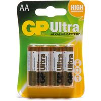 Gp Batteries Ultra Alkaline AA 4 Pack, Assorted