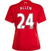 Liverpool Home Shirt 2015/16 - Womens Red with Allen 24 printing
