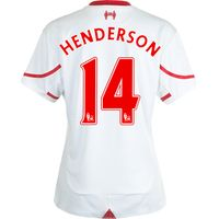 Liverpool Away Shirt 2015/16 - Womens White with Henderson 14 printing