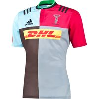 Harlequins Home Short Sleeve Shirt 2015/16 Dk Brown