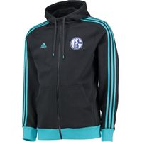 Schalke 04 3 Stripe Hooded Zip Top Grey