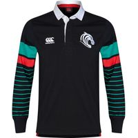 Leicester Tigers Stripe Long Sleeved Rugby Jersey Black