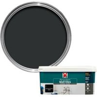 V33 Renovation Midnight Black Satin Wall Tile Paint2L