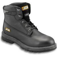 JCB Black Full Grain Leather Steel Toe Cap Protector Safety Boots  Size 10