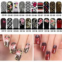20pcs Water Transfer Nail Art Stickers Full Cover DIY Nail Designs Manicure Accessories(C2-001 to C2