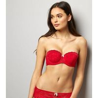 Red Lace Strapless Bra