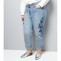Curves Blue Floral Emroidered Mom Jeans