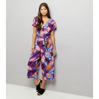 Purple Floral Print Wrap Front Culotte Jumpsuit