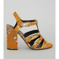Yellow Satin Floral Brocade Gladiator Block Heels