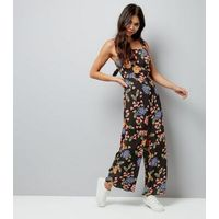 Tall Black Floral Tie Back Jumpsuit