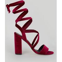 Pink Velvet Ankle Tie Heeled Sandals